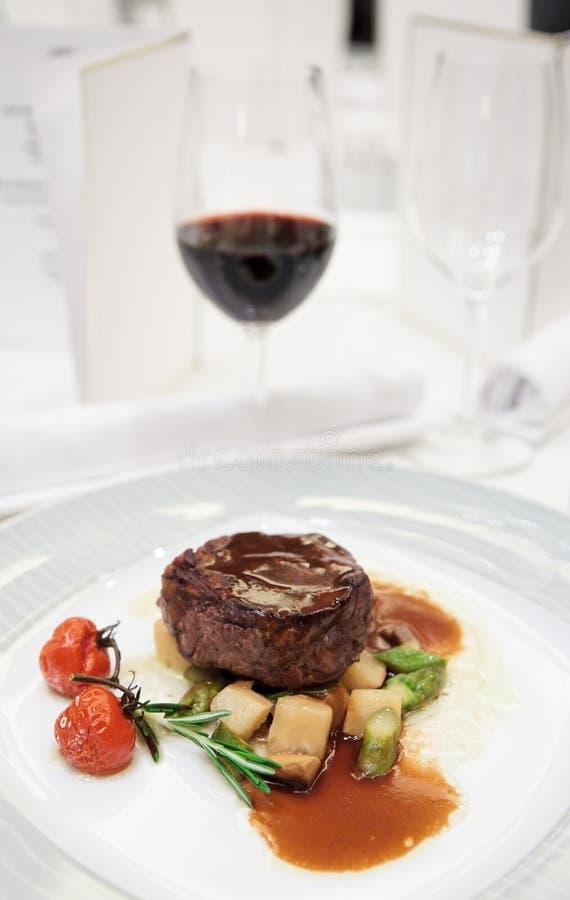 餐馆牛排表里脊肉 库存图片