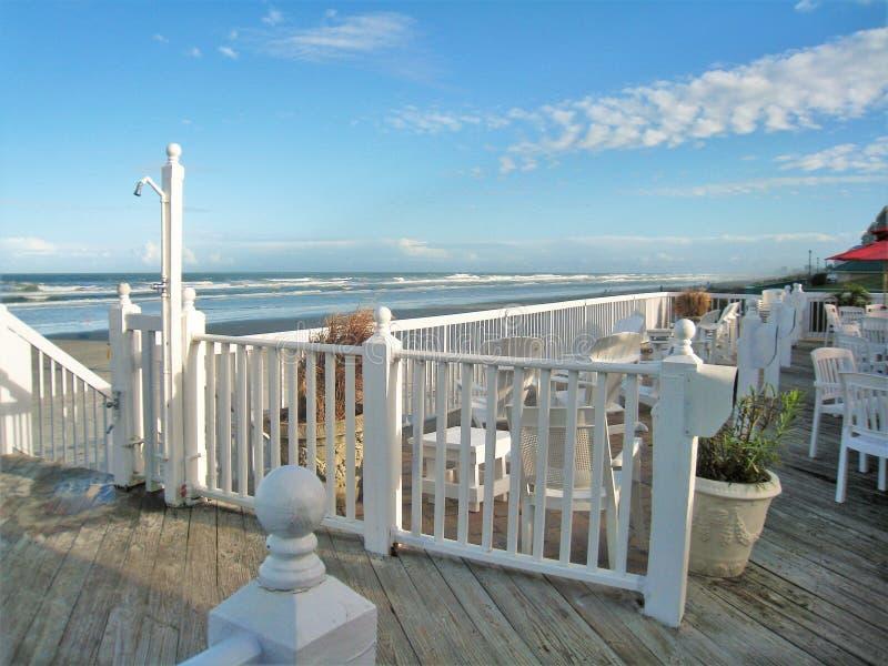 餐馆甲板在Daytona海滩 库存照片