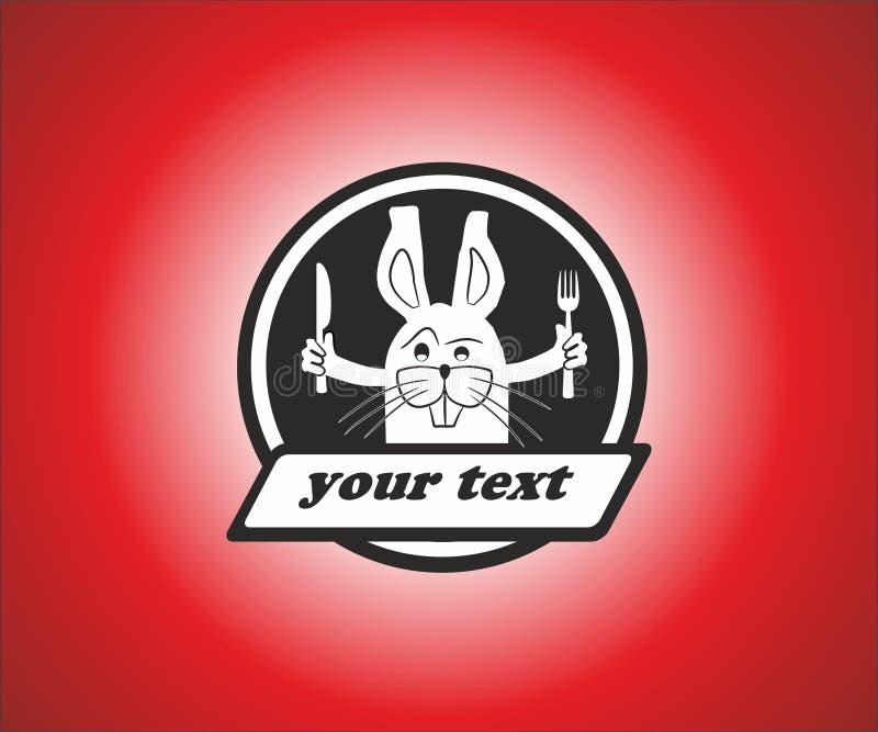 从餐馆的兔子商标 库存照片