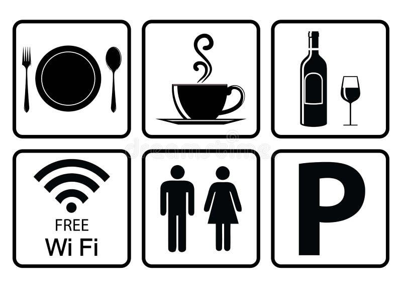 餐馆的有用的象 向量例证