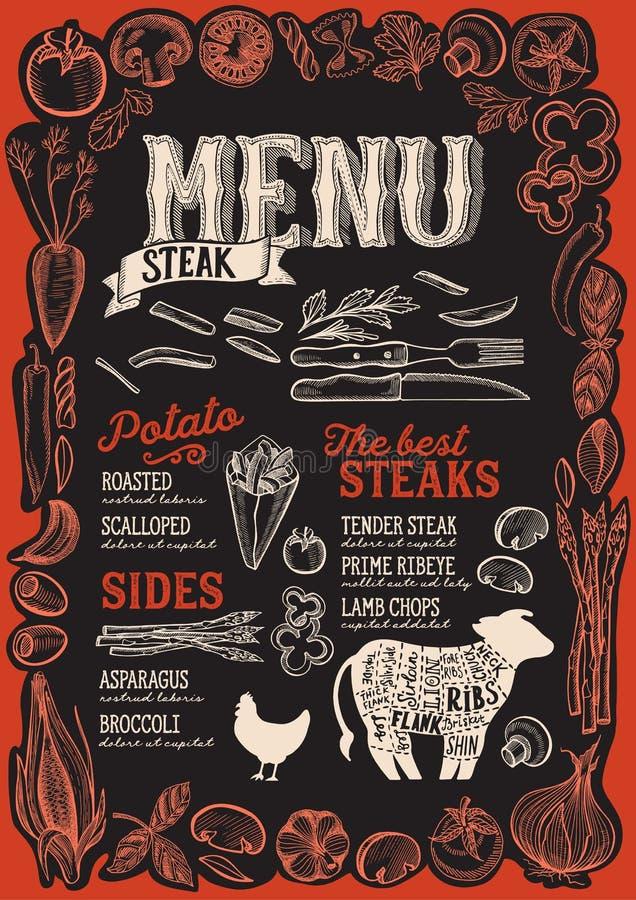 餐馆的牛排菜单有图表菜框架的  库存例证