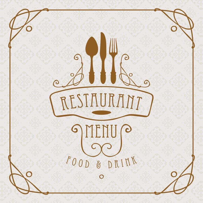 餐馆的菜单有扁平的餐具和curlicues的 库存例证