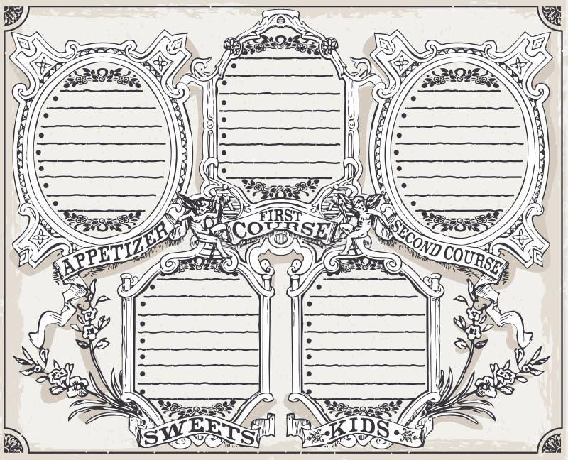 餐馆的葡萄酒图表页菜单 皇族释放例证