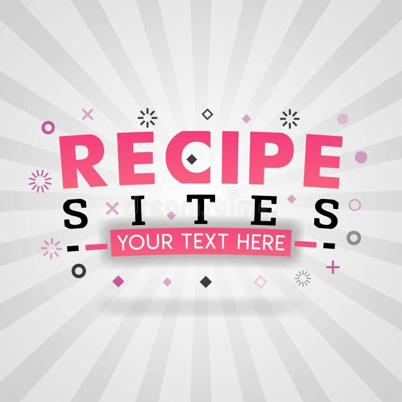 餐馆盖子、食物博克和菜谱信息成份的食谱站点 库存例证