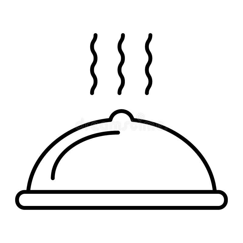 餐馆盘稀薄的线象 在白色隔绝的报道的盘传染媒介例证 与盒盖概述样式的热的盘 向量例证