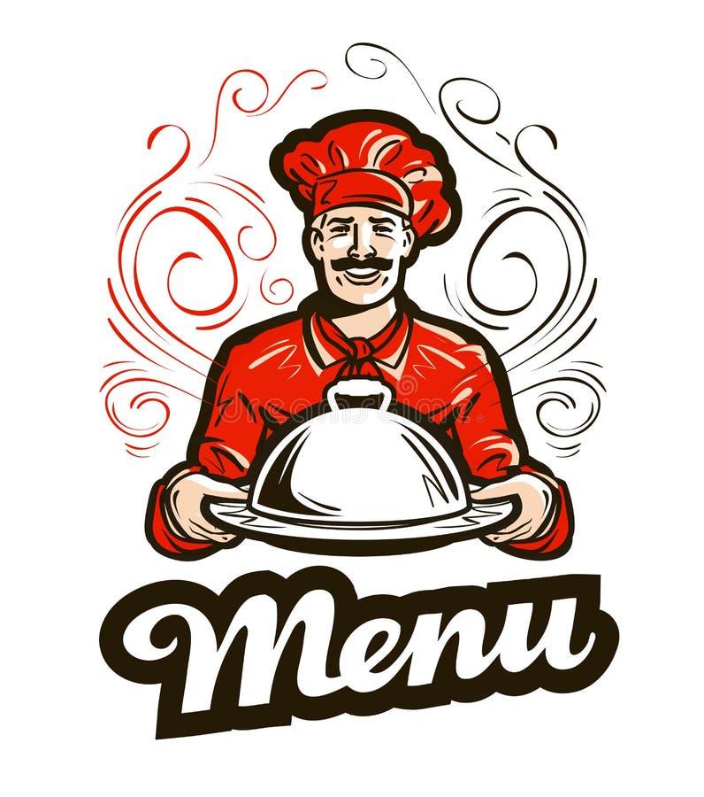 餐馆菜单传染媒介商标 咖啡馆,吃饭的客人,厨师象 向量例证