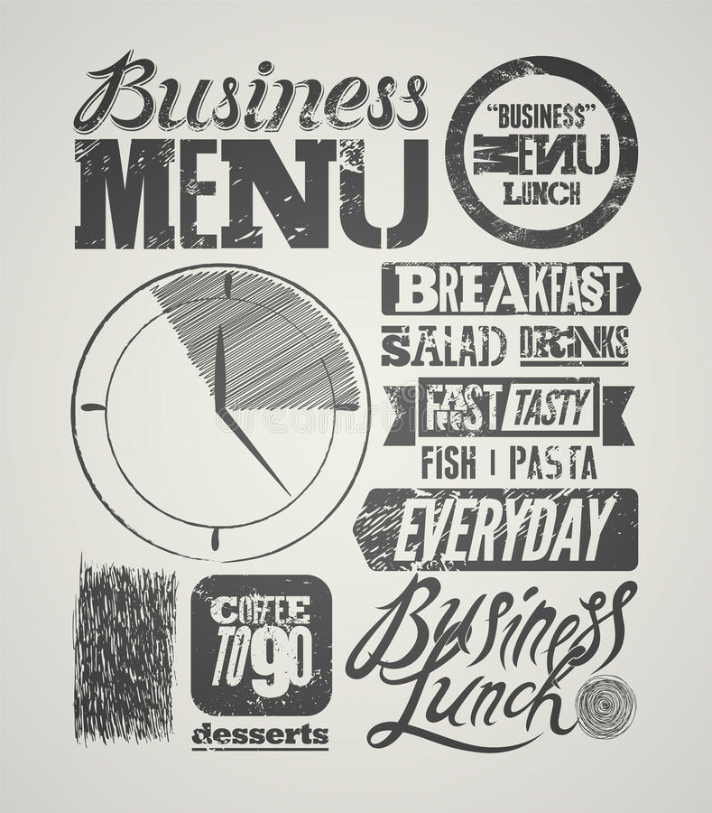 餐馆菜单印刷难看的东西设计 葡萄酒工作午餐海报 也corel凹道例证向量 库存例证