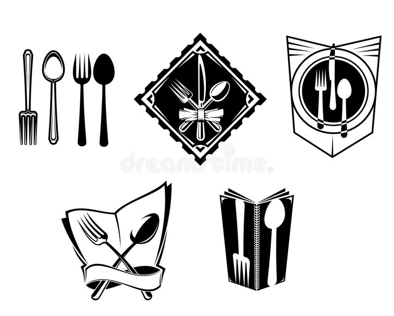 餐馆菜单图标和符号 皇族释放例证