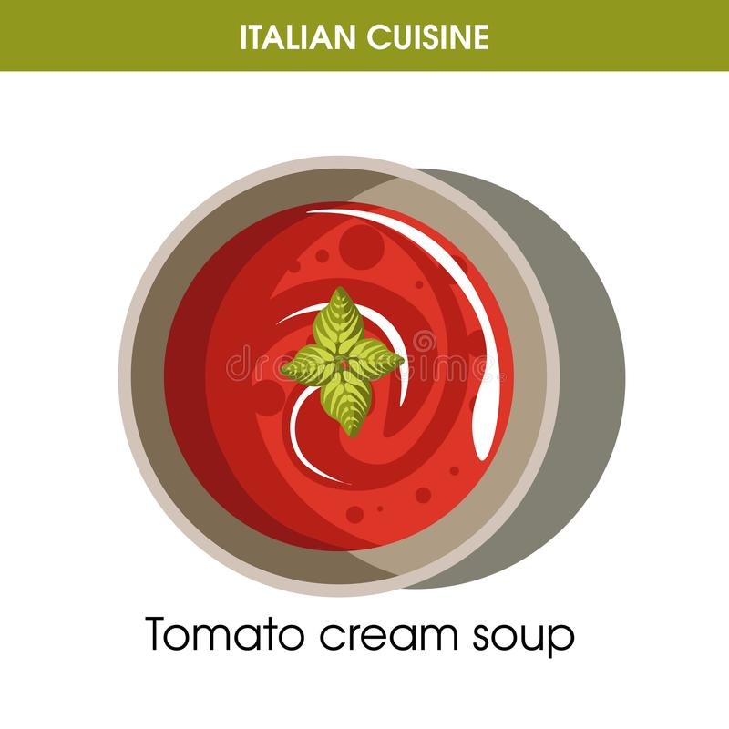 餐馆菜单或烹调的食谱模板意大利烹调蕃茄奶油汤传染媒介象 皇族释放例证