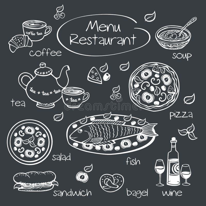 餐馆菜单的元素 向量例证