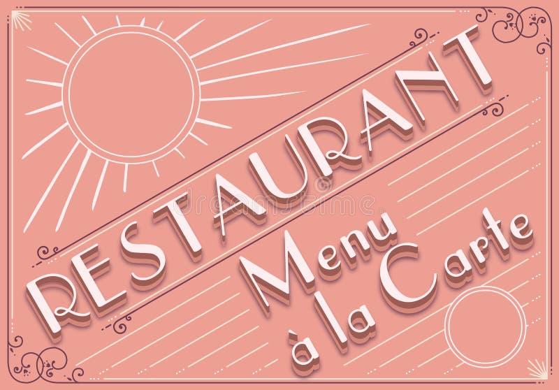 餐馆菜单的葡萄酒图象要素 库存例证