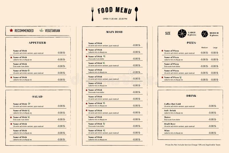 餐馆菜单设计与商标的模板布局 库存例证