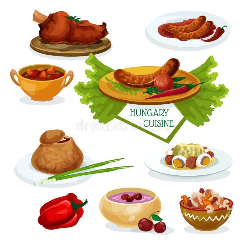 餐馆菜单设计的匈牙利烹调象 皇族释放例证