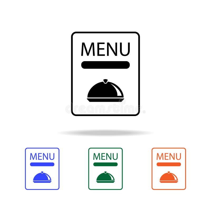 餐馆菜单象 简单的网象的元素在多颜色的 优质质量图形设计象 网站的简单的象, 库存例证