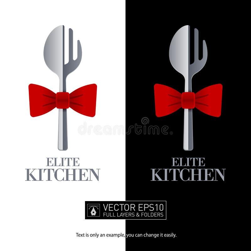 餐馆被塑造的商标叉子和匙子 图标 库存例证