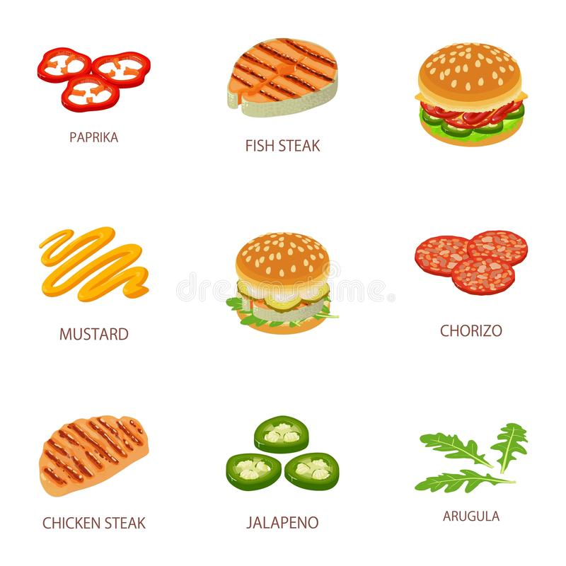 餐馆被设置的汉堡象,动画片样式 向量例证