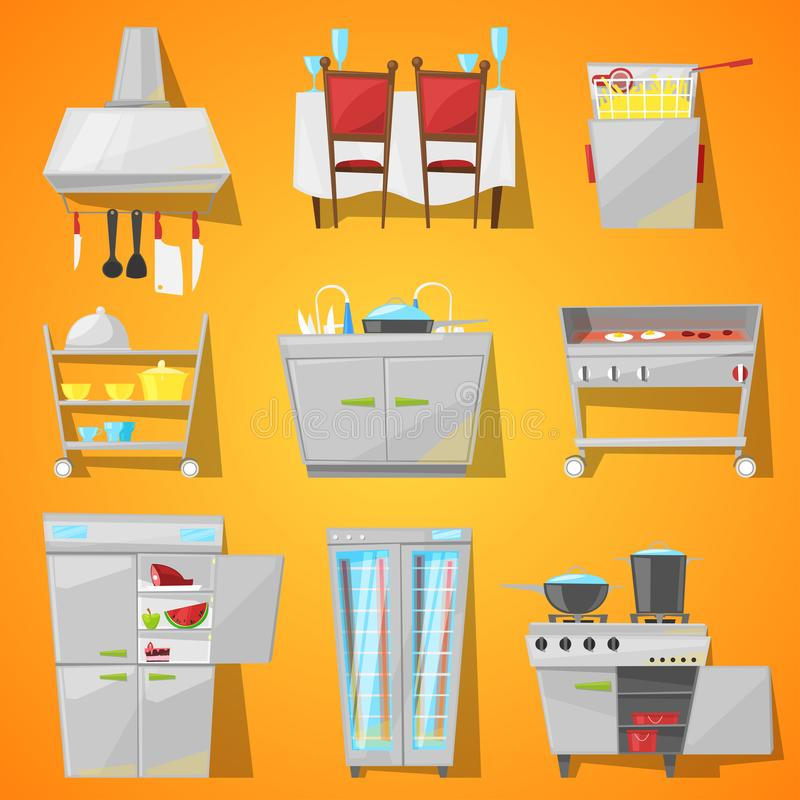 餐馆餐厅内部传染媒介咖啡馆家具和厨房器具用装备的自助食堂内部的 皇族释放例证