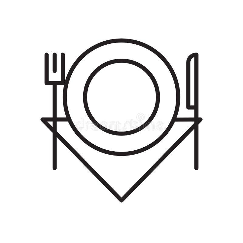 餐馆,食物线象,概述传染媒介标志,在白色隔绝的线性样式图表 库存例证