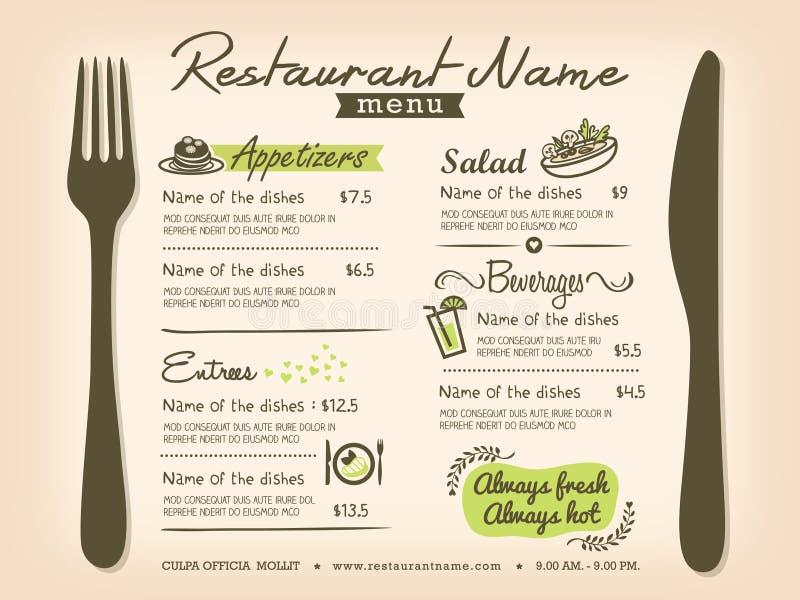 餐馆Placemat菜单传染媒介设计版面 皇族释放例证