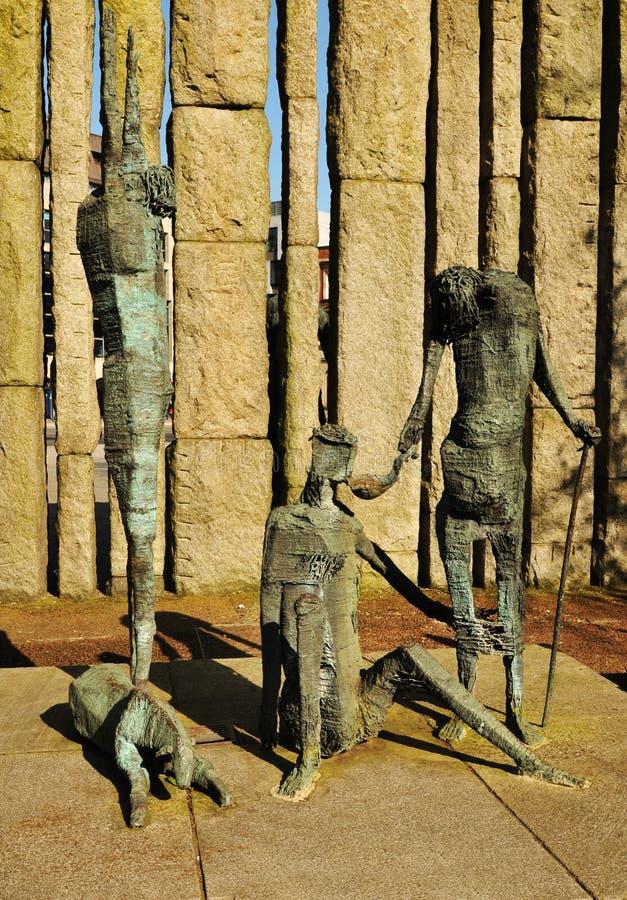 饥荒雕象在都伯林,爱尔兰 库存照片