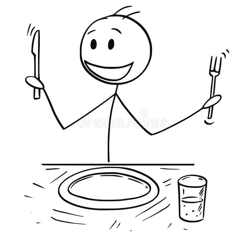 饥饿的人动画片用叉子和刀子等待的食物 皇族释放例证