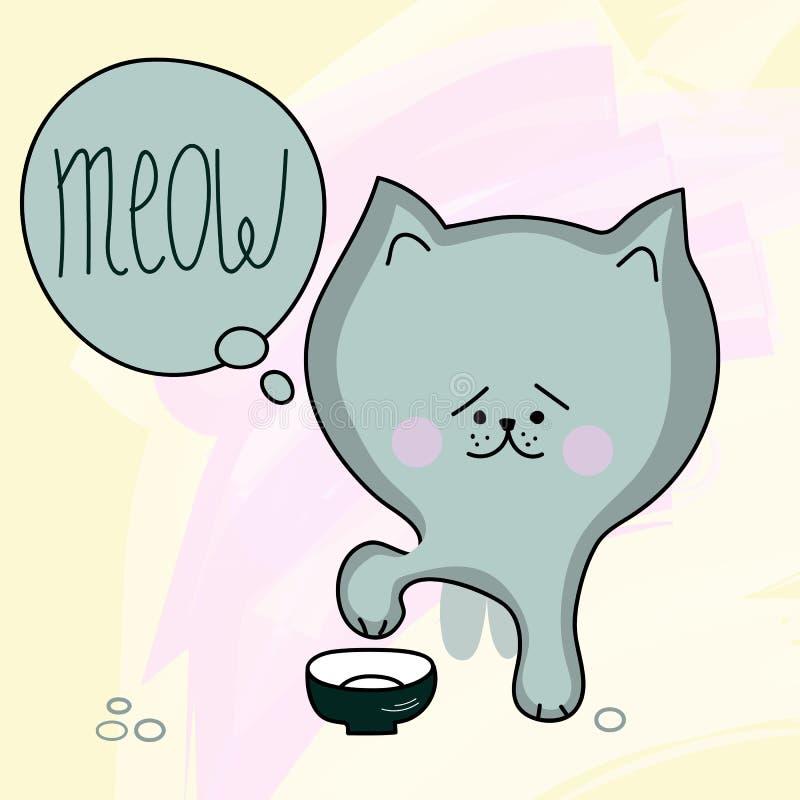 饥饿的小猫传染媒介 库存例证
