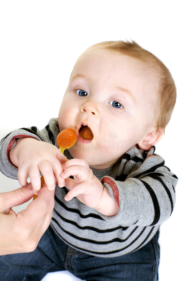 饥饿的男婴 免版税库存图片