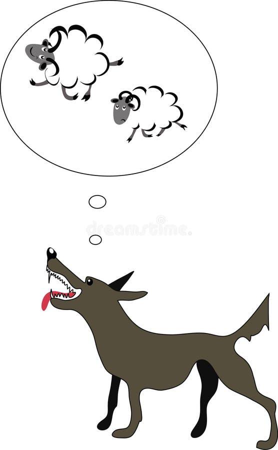 饥饿的绵羊认为的狼 向量例证