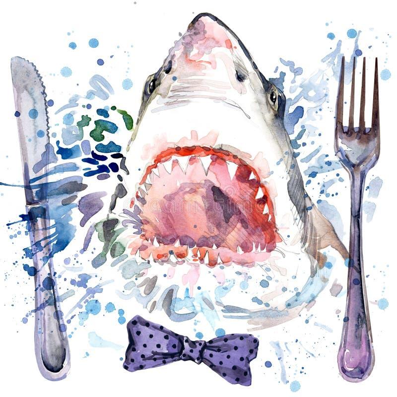 饥饿的鲨鱼T恤杉图表 鲨鱼例证有飞溅水彩织地不很细背景 垂悬的异常的例证水彩 皇族释放例证