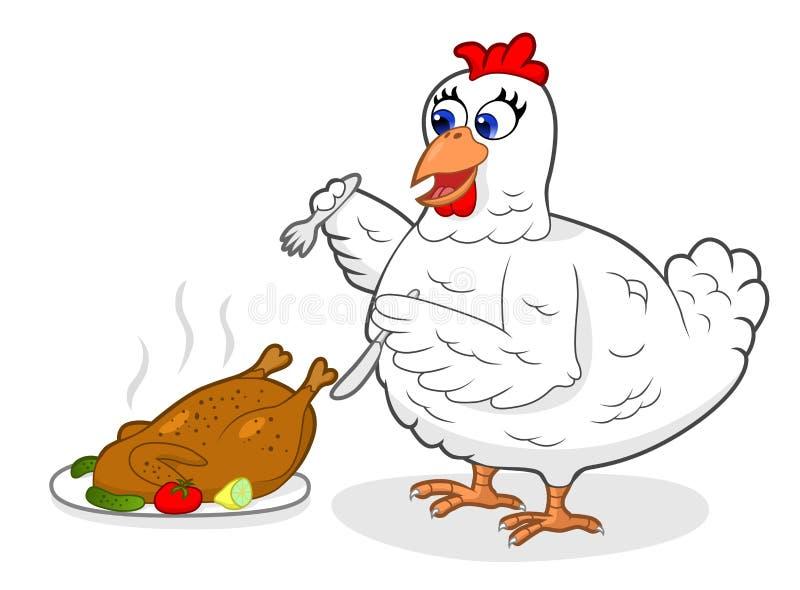 饥饿的鸡 皇族释放例证