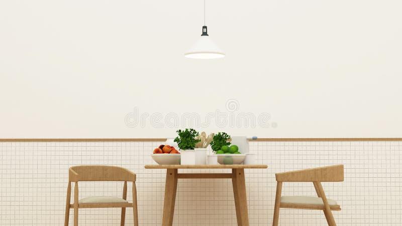 饭厅和餐具室在餐馆- 3d翻译 库存例证