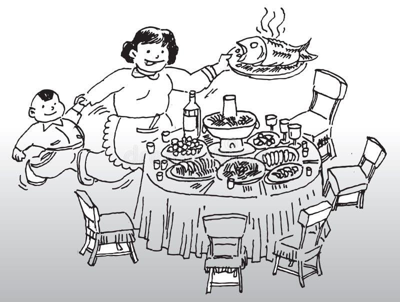 饭桌 向量例证