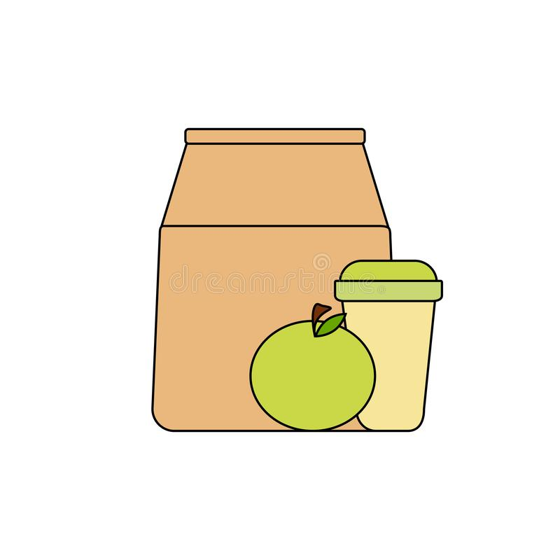 饭盒:纸袋、绿色苹果和咖啡在一纸杯 健康早餐,健康生活方式 向量例证