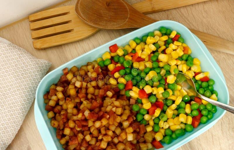 饭盒/塑料食盒充满菜混合和'pytt i panna'瑞典名字对于与油煎的一个盘砍/模子 库存图片
