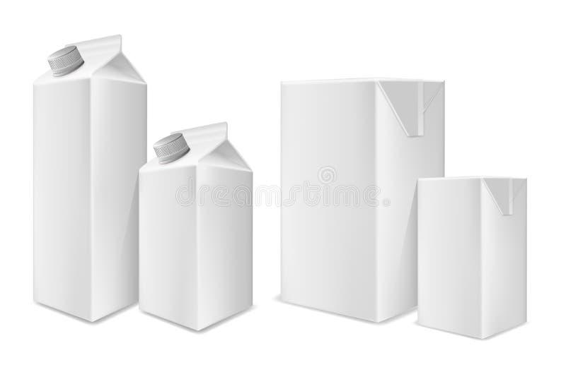 饮料、汁液和牛奶的白色纸板包裹 库存例证