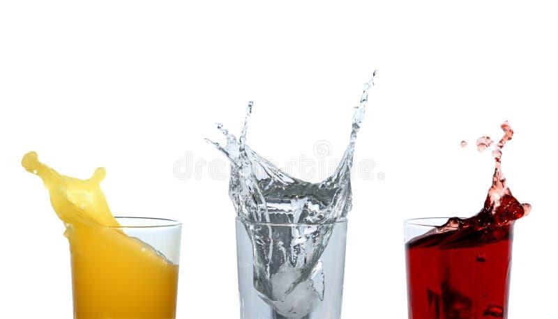 饮料五颜六色飞溅 库存照片