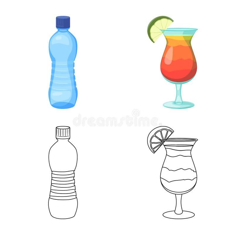 饮料和酒吧标志传染媒介设计  套饮料和党储蓄传染媒介例证 库存例证