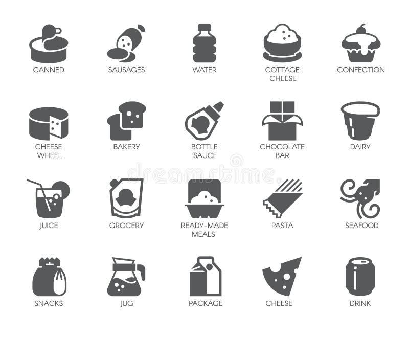 饮料和食物纵的沟纹象 被隔绝的20个平的标签 牛奶店、甜点和其他膳食商标 烹饪和美食术概念 皇族释放例证