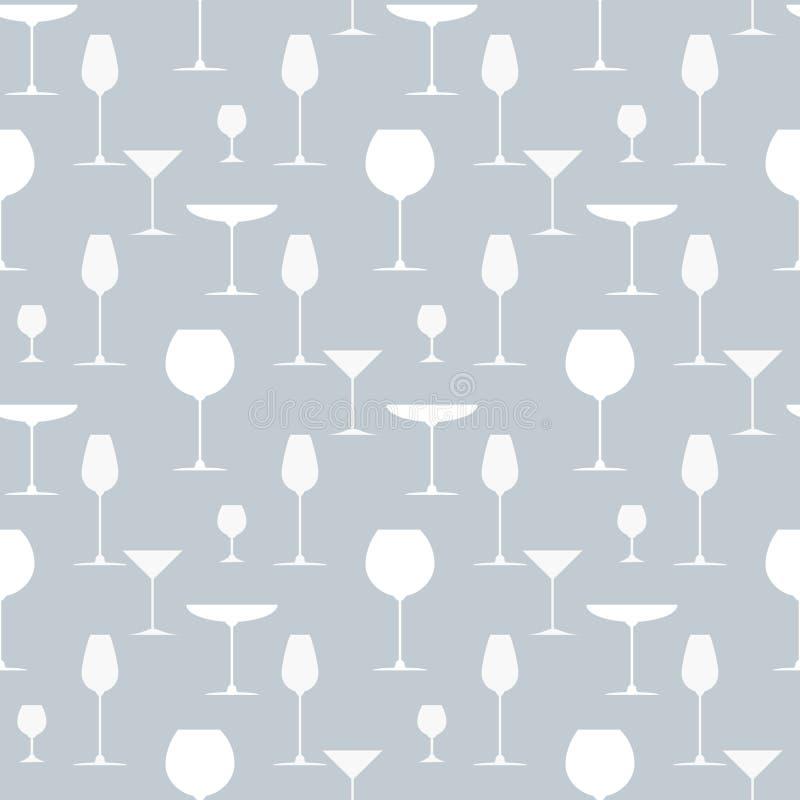 饮料和鸡尾酒杯无缝的样式背景 为盖子菜单、酒类一览表或者餐馆卡片设计 皇族释放例证