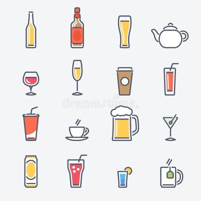 饮料图标设置了 与平的元素的时髦稀薄的线设计 皇族释放例证