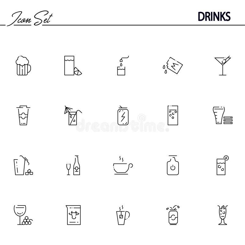 饮料平的象或商标为网络设计设置了 皇族释放例证