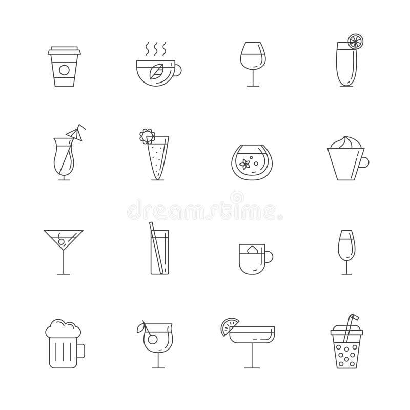 饮料概述象集合 简单的概述设计 皇族释放例证