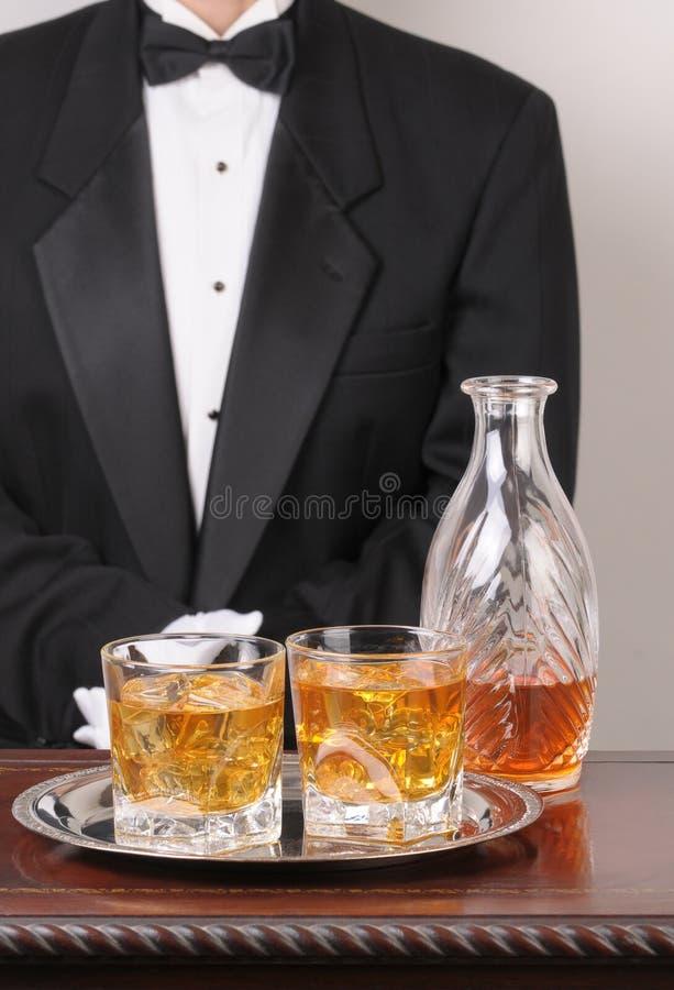 饮料混杂的盘等候人员 免版税图库摄影