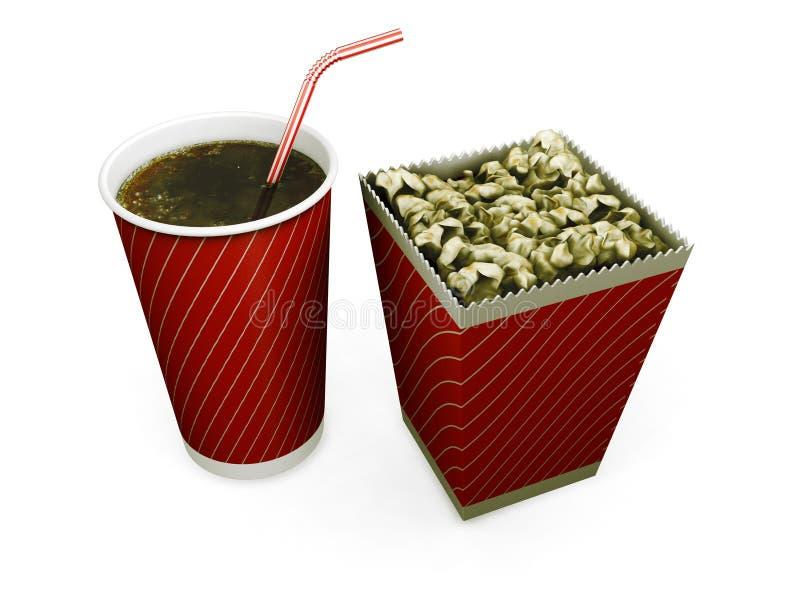 饮料玉米花碳酸钠 皇族释放例证