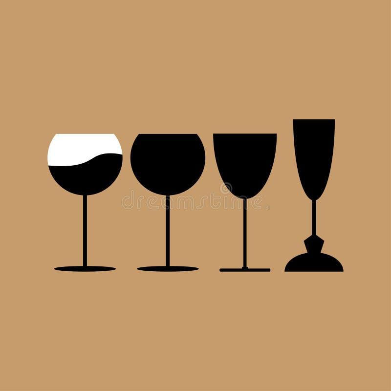 饮料玻璃,酒杯-传染媒介例证 皇族释放例证