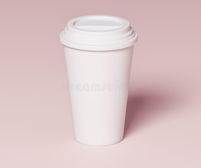 饮料的白皮书杯子- 3D例证 库存例证