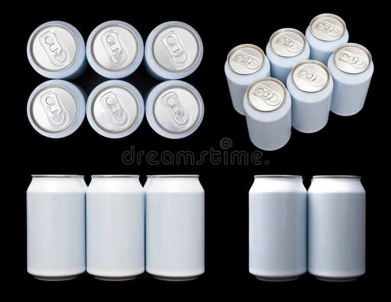 饮料空白罐头包装投影六 免版税库存照片