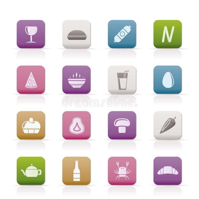 饮料食物图标界面 皇族释放例证
