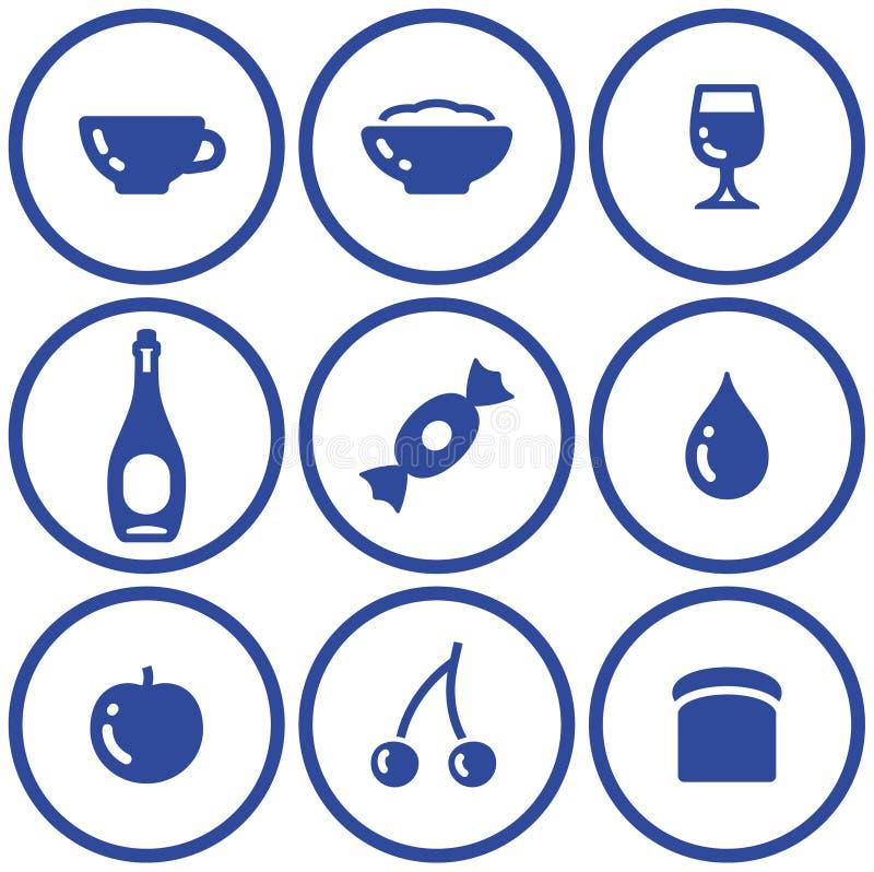 饮料食物图标集合向量 库存例证