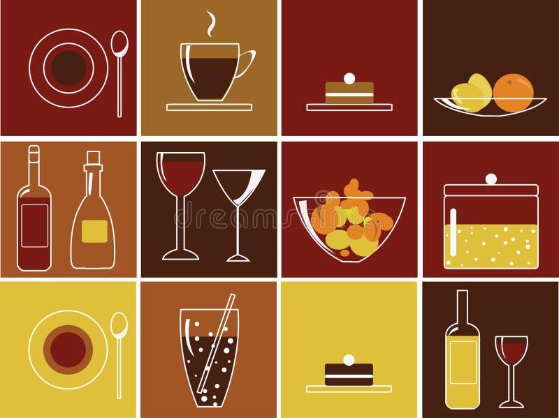 饮料食物图标 库存例证